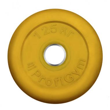 ДТРЦ-1,25/26. Диск «Profigym» тренировочный обрезиненный 1,25 кг цветной 26 мм (металлическая втулка)