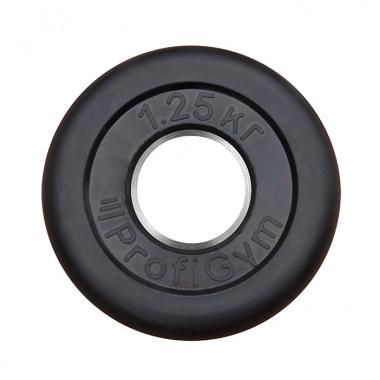 ДТР-1,25/51. Диск «Profigym» тренировочный обрезиненный 1.25 кг черный 51 мм (металлическая втулка)
