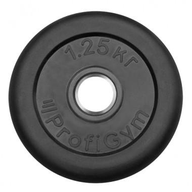 ДТР-1,25/26. Диск «Profigym» тренировочный обрезиненный 1.25 кг черный 26 мм (металлическая втулка)