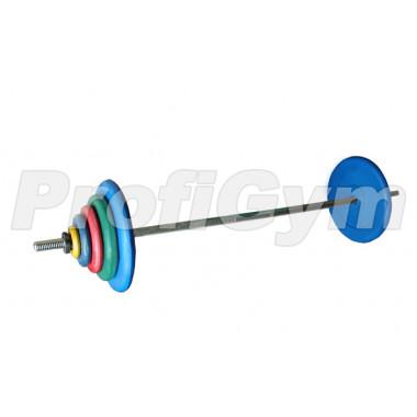 ШТРц-90-26. Штанга тренировочная 90кг с грифом 25мм, длиной 1,9м, обрезиненные цветные диски