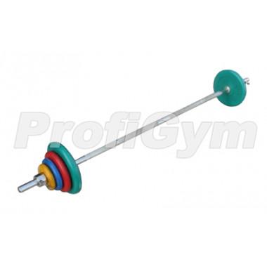 ШТРц-50-26. Штанга тренировочная 50кг с грифом 25мм, длиной 1,9м, обрезиненные цветные диски