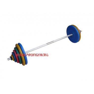 ШТРц-120-26. Штанга тренировочная 120кг с грифом 25мм, длиной 1,9м, обрезиненные цветные диски